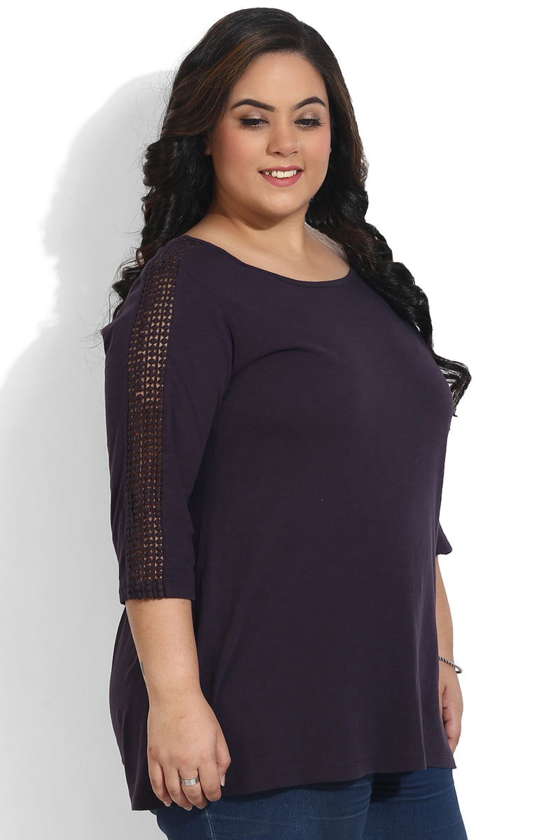 Violet Lace Sleeve Top
