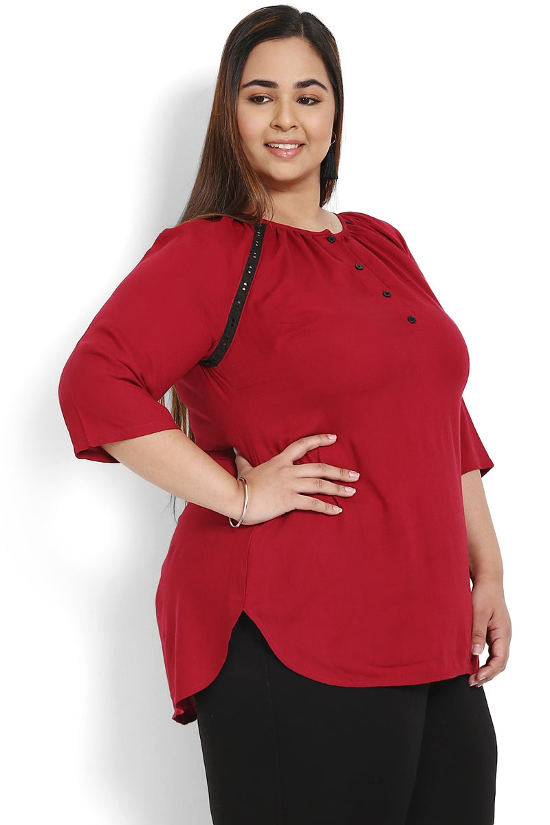 Chilly Red Lace Insert Raglan Sleeve Top