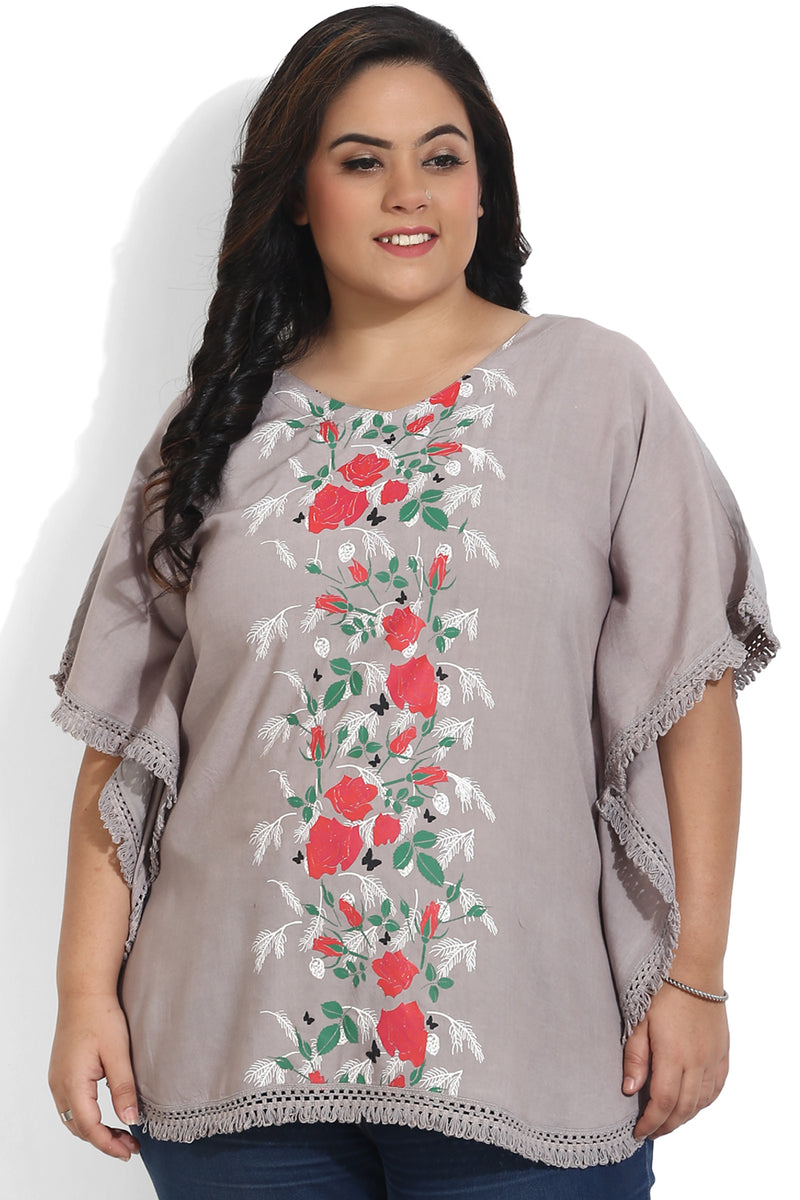 Grey Printed Kaftan Top
