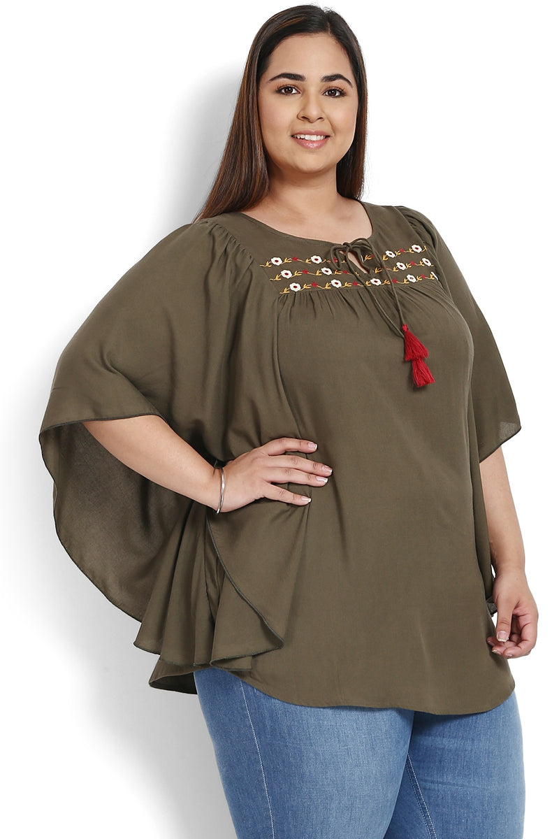 Olive Embroidered Yoke Kaftan Sleeve Top