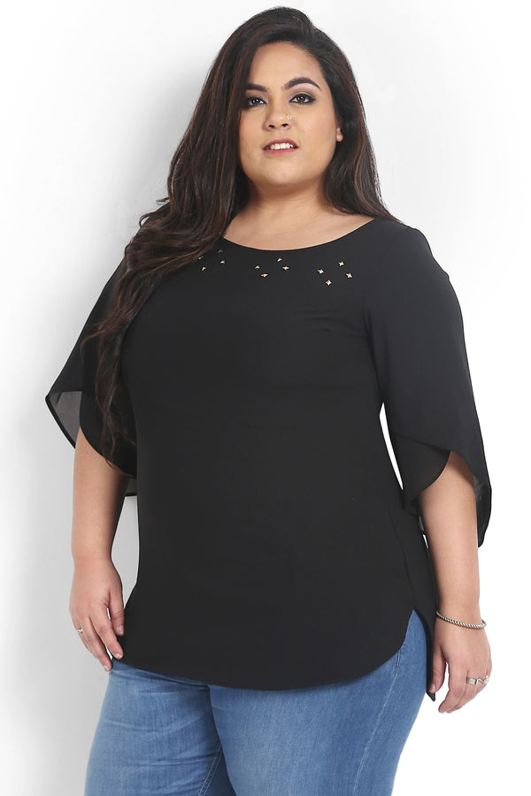Black Stud Detail Petal Sleeve Top