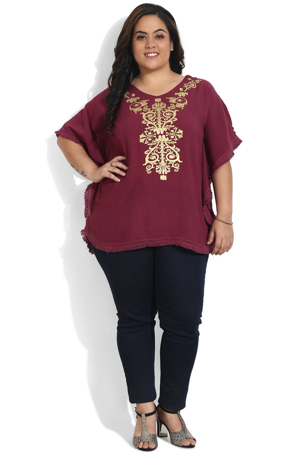 Wine Gold Printed Kaftan Top