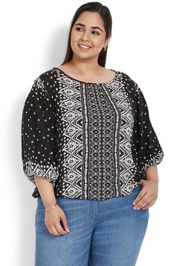 Black Printed Balloon Sleeve Top
