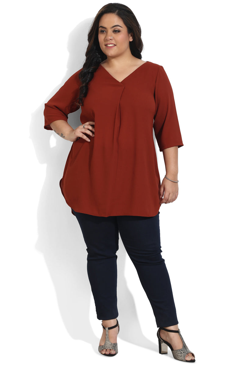 Rust Centre Box Pleat Top