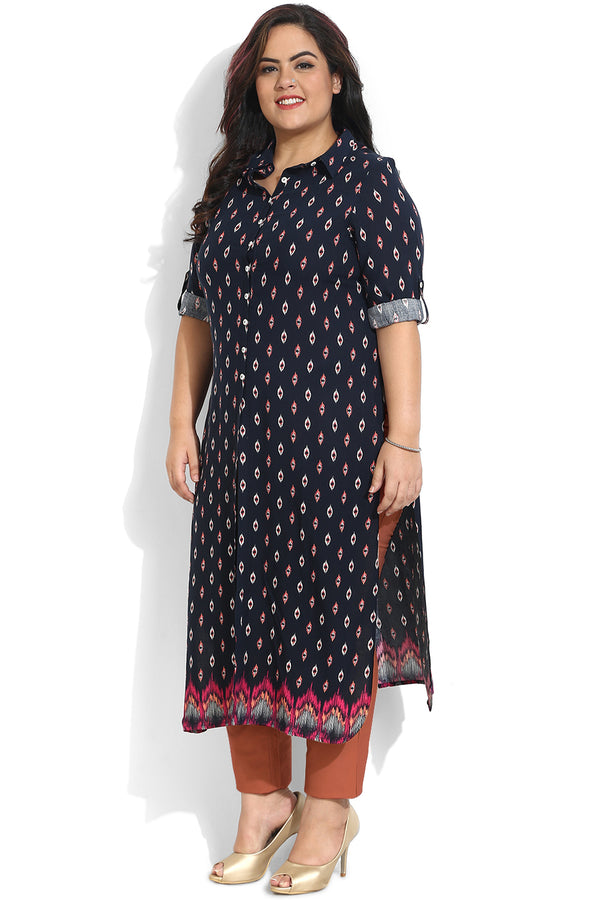 Navy Aztec Printed Three Slit Kurti