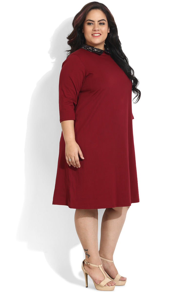 Maroon Sequin Peter Pan Collar Dress