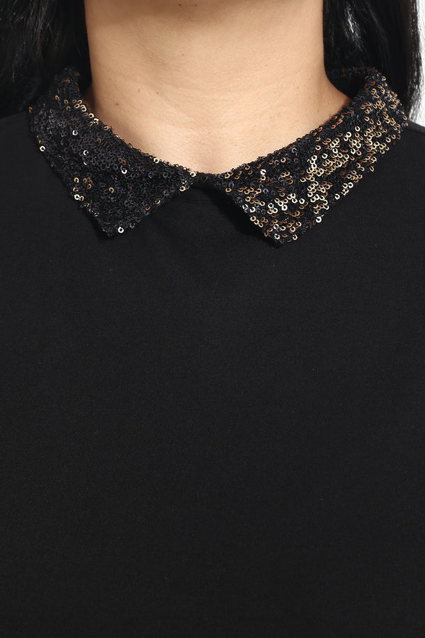 Black Sequin Peter Pan Collar Dress