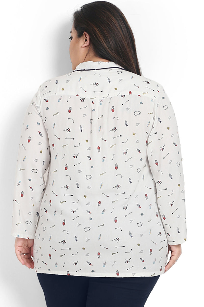 Arrow Print Night Suit Shirt