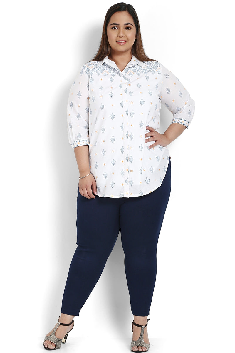White Blue Printed Round Hemline Shirt