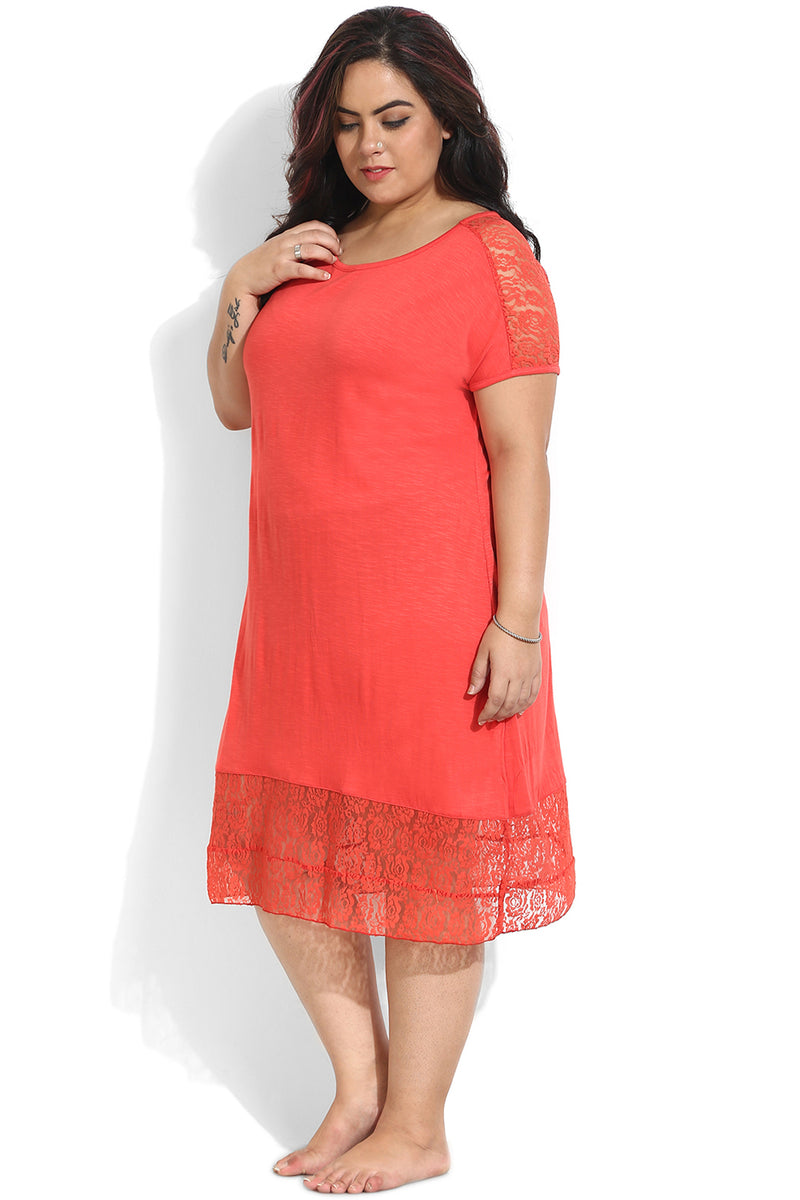 Coral Lace Detail Night Dress