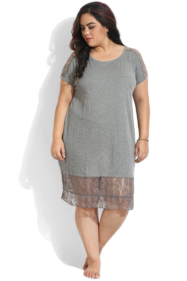 Grey Lace Detail Night Dress