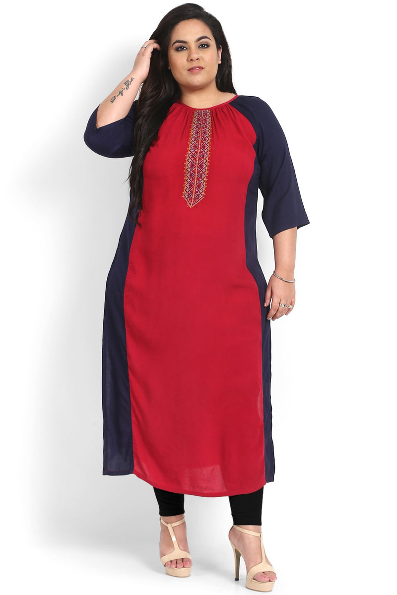 Navy Chilly Contrast Sleeve Embroidery Kurti