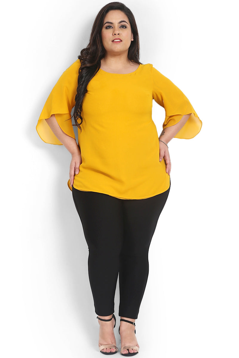 Mustard Georgette Petal Sleeve Top