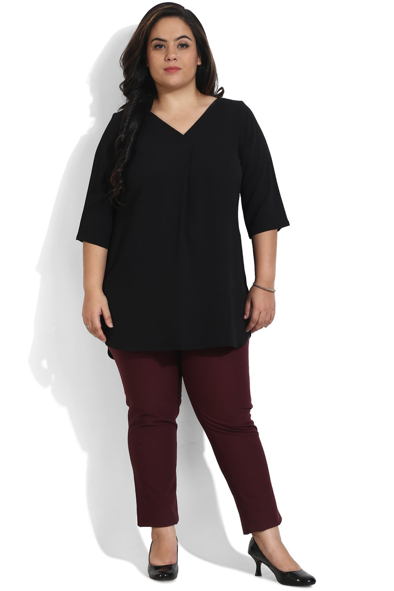 Black Centre Box Pleat Top