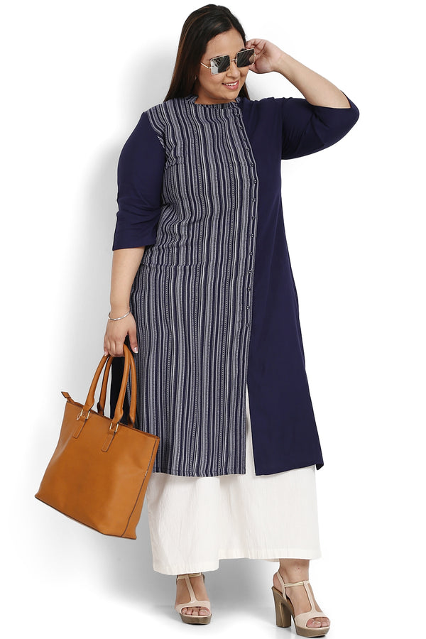 Navy Printed Dual Panel Kurti
