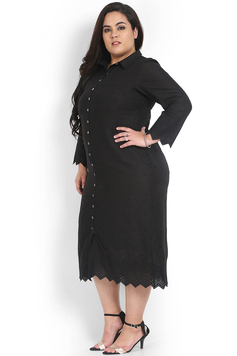 Black Schiffli Pattern Shirt Dress