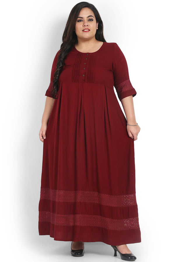 Maroon Lace Detail Full Length Dress