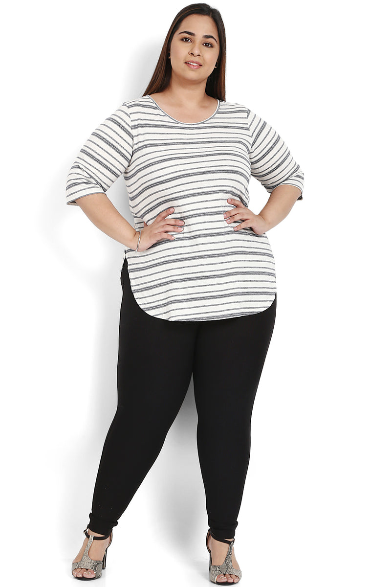 Black White Stripe Rounded Hemline T Shirt