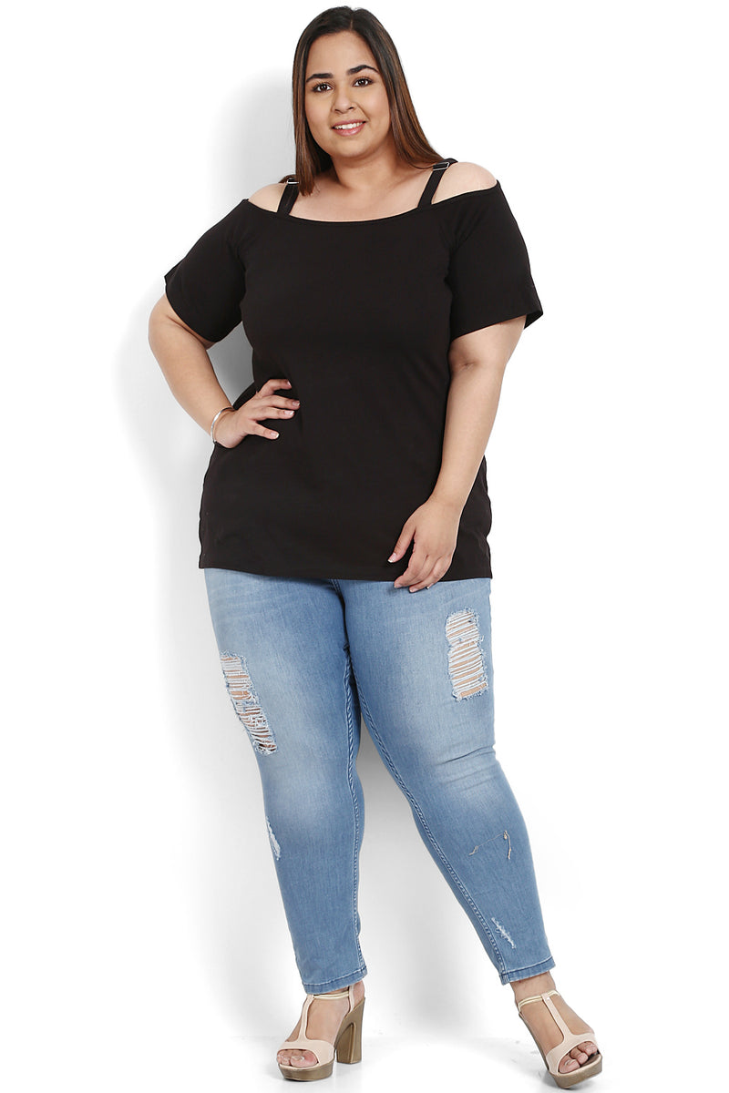 Black Basic Off Shoulder Top