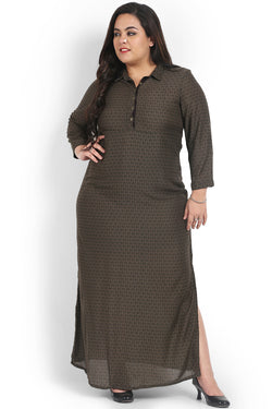 Khaki Green Collar Style Full Length Dress
