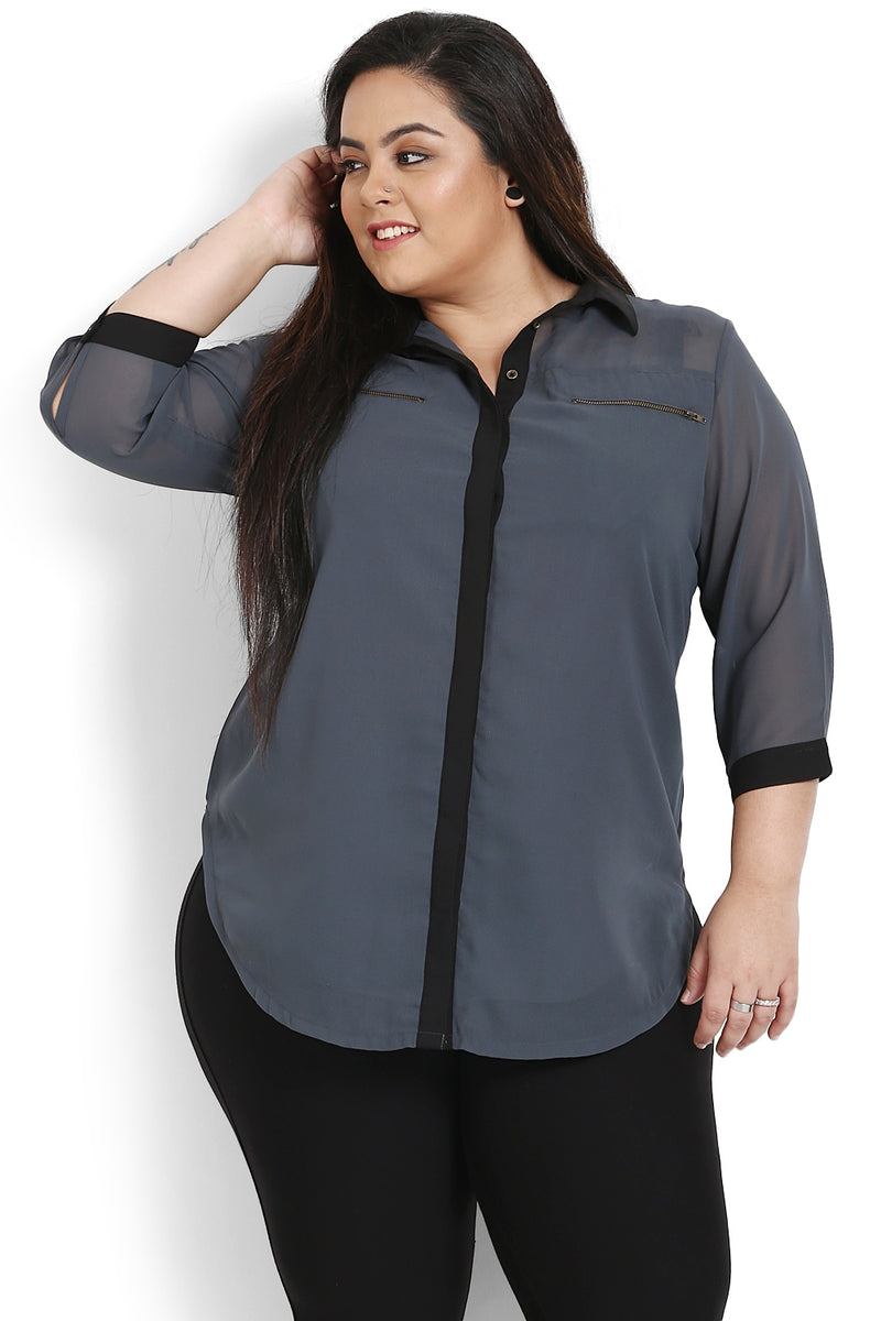 Grey Black Georgette Shirt