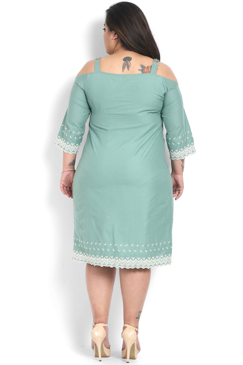 Vintage Green Embroidery Off-Shoulder Dress