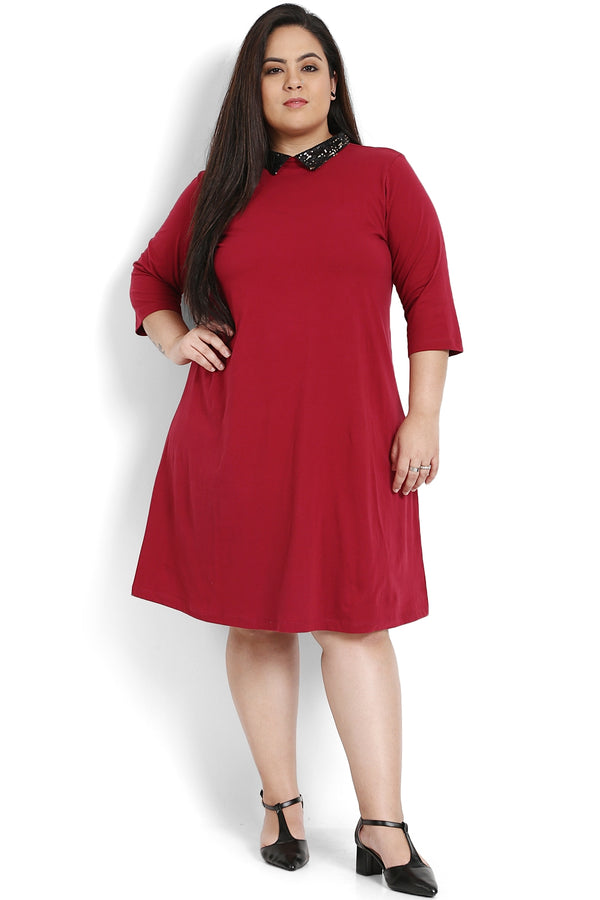 Chilly Red Sequin Peter Pan Collar Dress