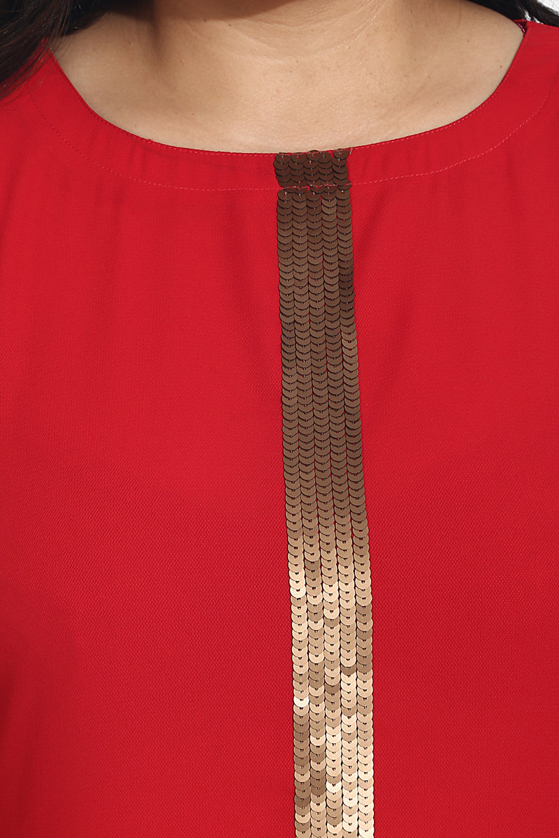Red Sequin Detail Straight Fit Kurti