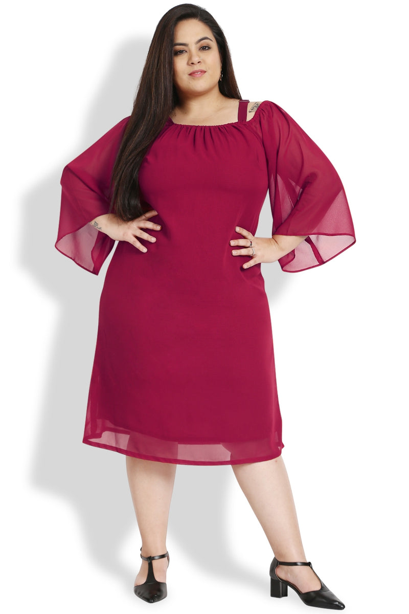 Wine Off Shoulder Bell Sleeves Dress