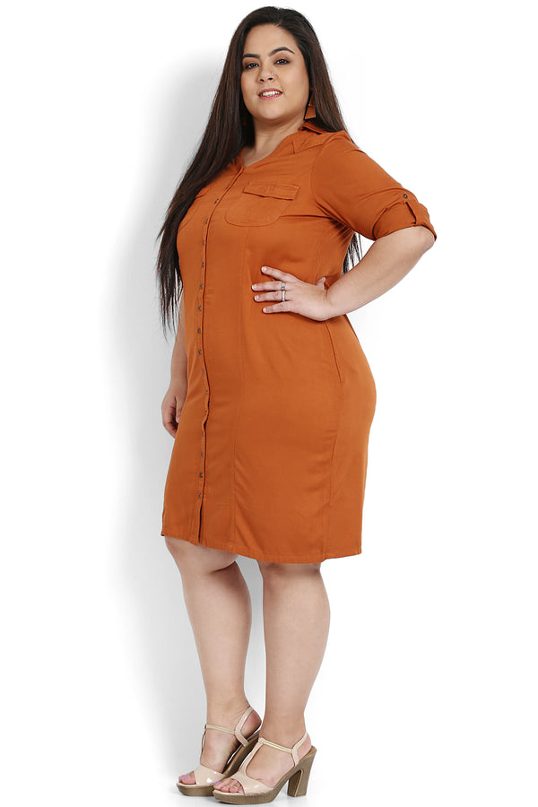 Rust Princess Seam Detailing Tunic