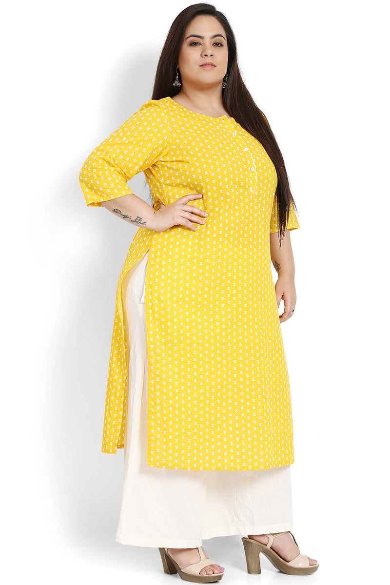 Yellow Placket Closure Printed Kurti