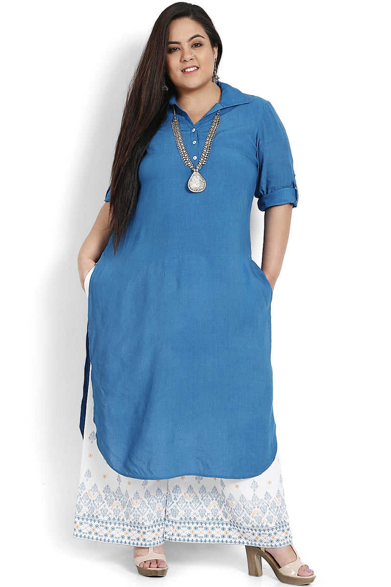 Cobalt Blue Roll Up Sleeve Round Hemline Kurti
