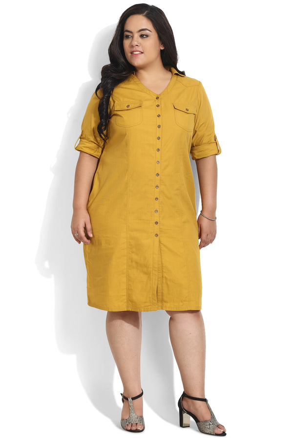 Mustard Princess Seam Twill Dress