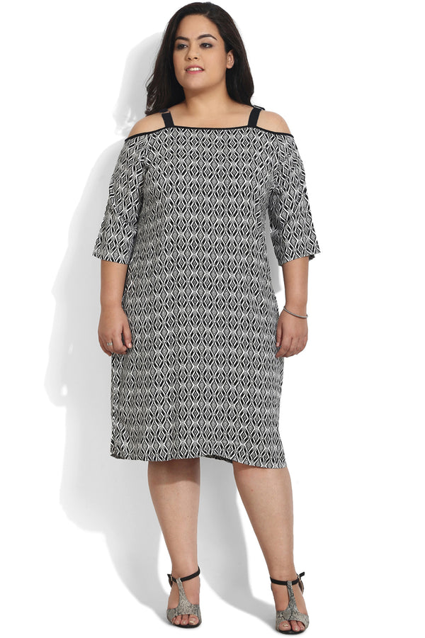 Black Rhombus Printed Off-Shoulder Dress