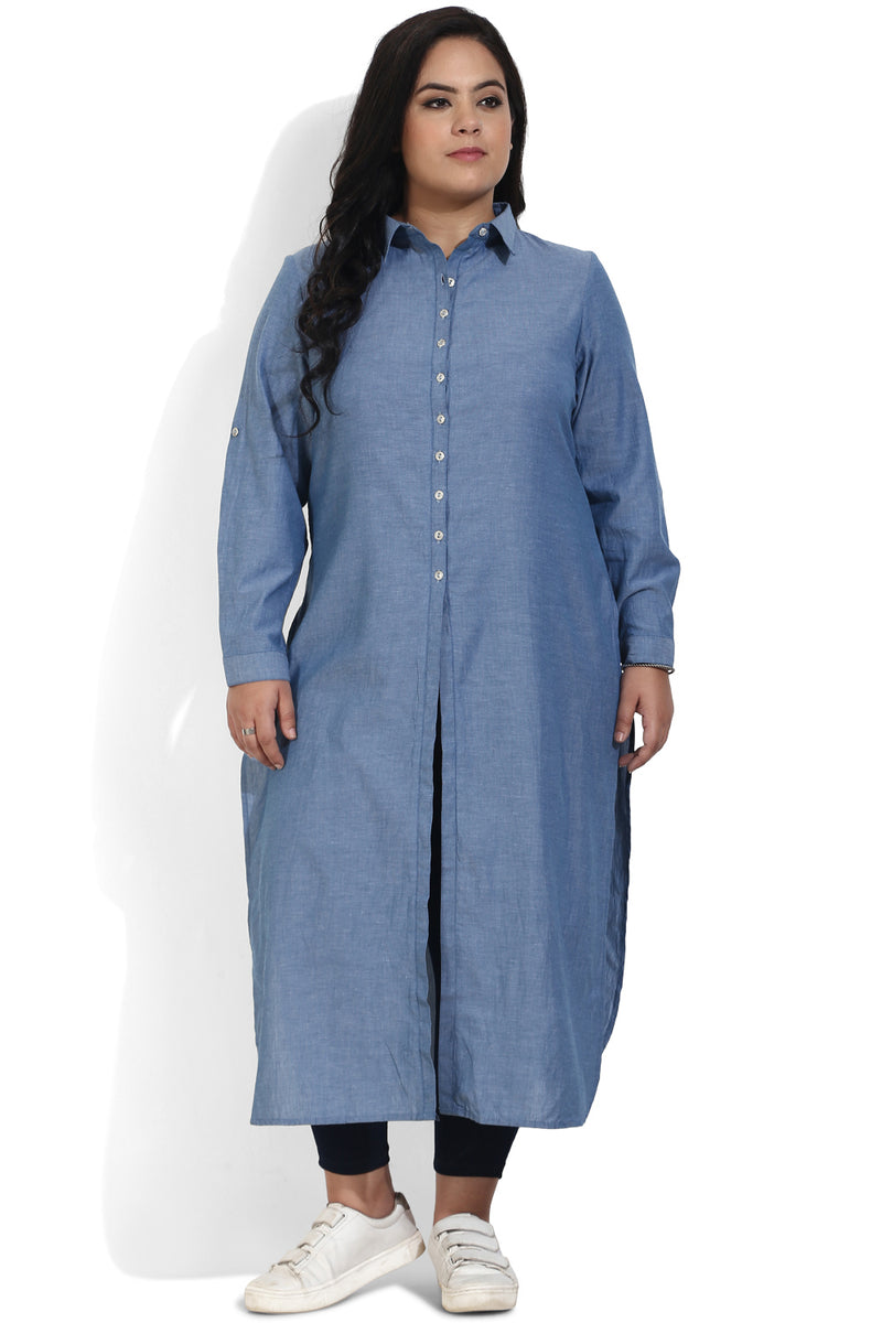 Blue Chambray Three Slit Kurti