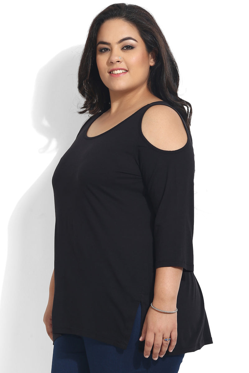 Black Cold Shoulder Basic Top