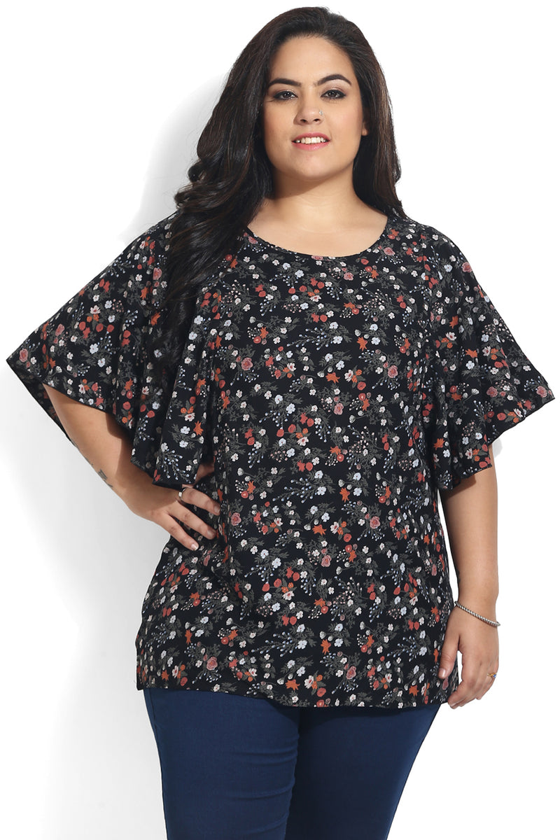 Black Floral Print Butterfly Sleeve Top