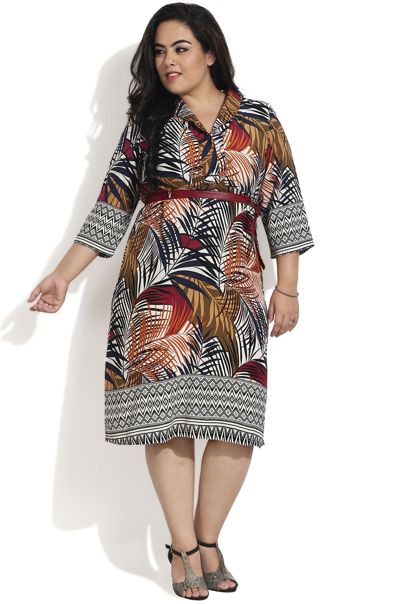 Maroon Autumn Printed Cowl Neck Dress