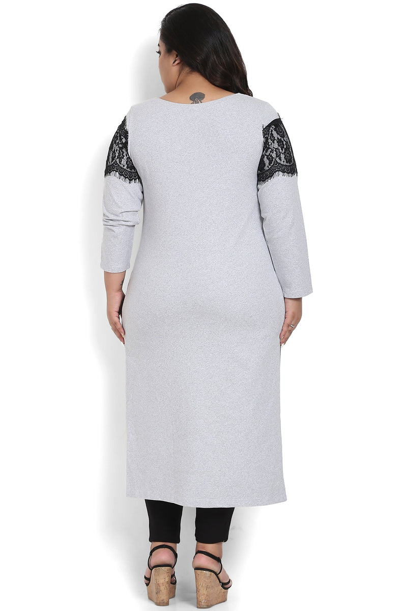 Grey Lace Overlay Autumn Kurti
