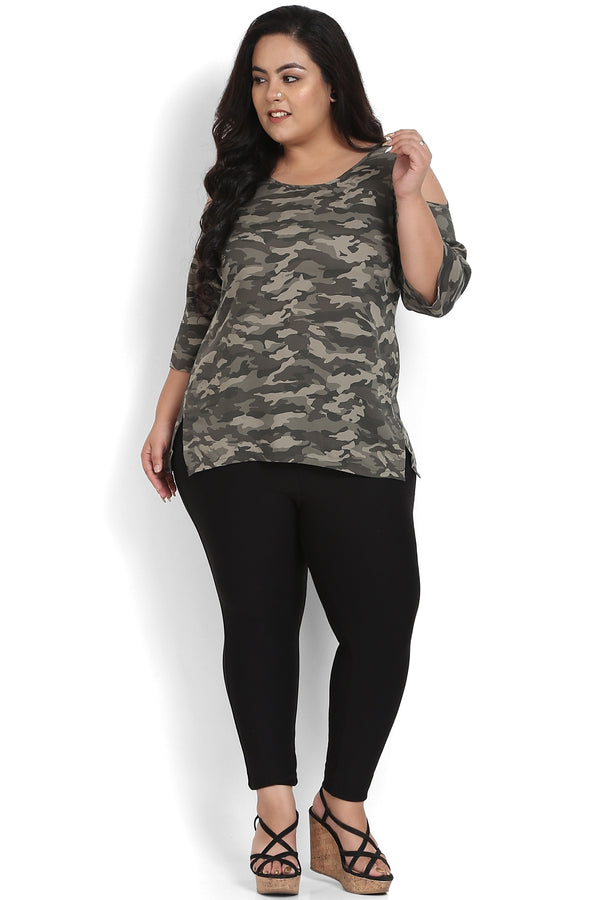 Camouflage Printed Cold Shoulder Top