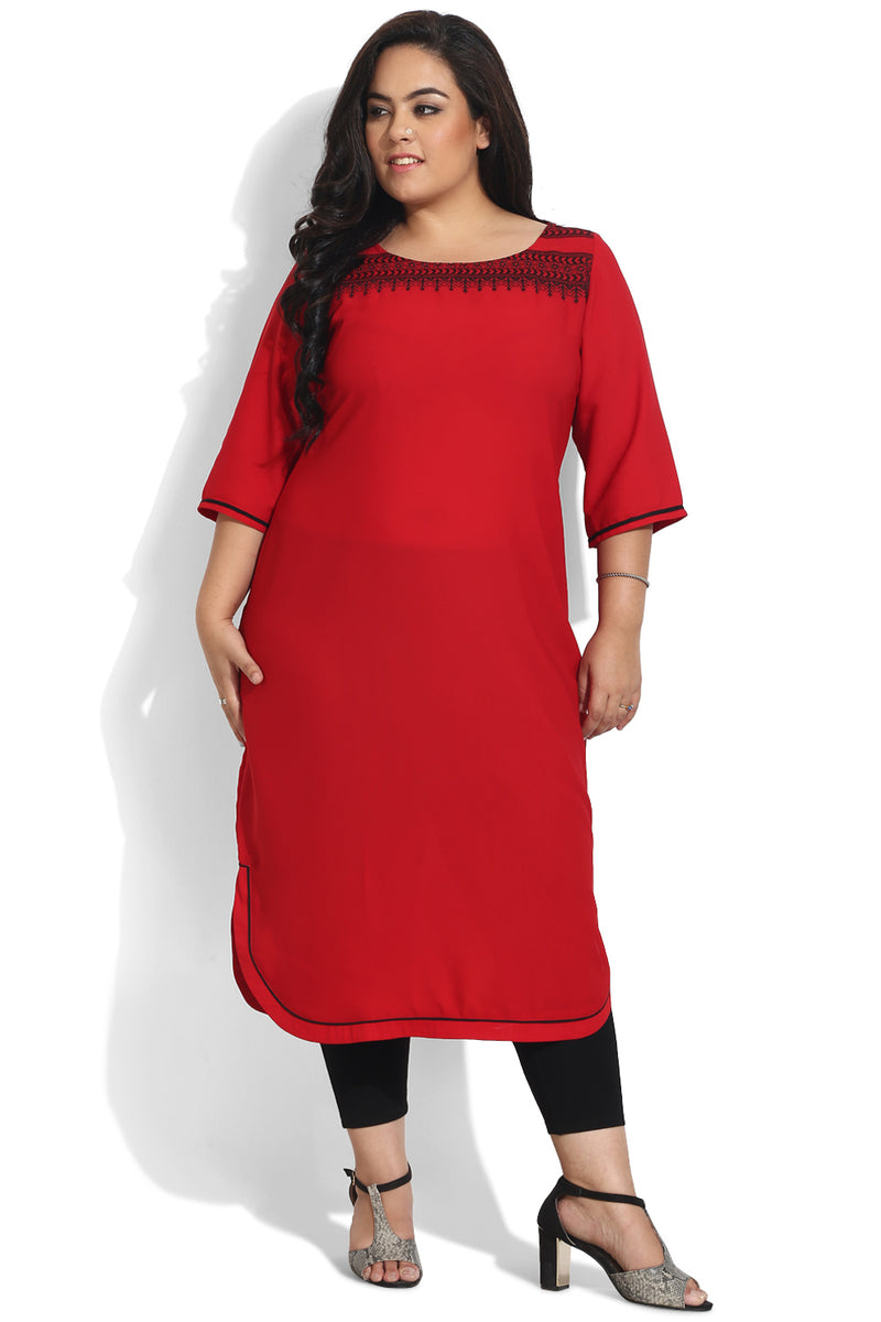 Red Embroidered Round Hemline Kurti