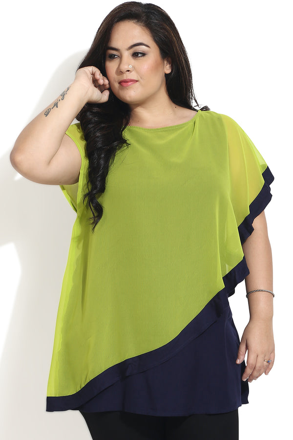 Off Shoulder Draping Tunic In Green & Blue