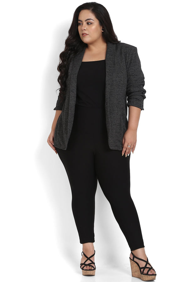 Black Grey Formal Knitted Jacket