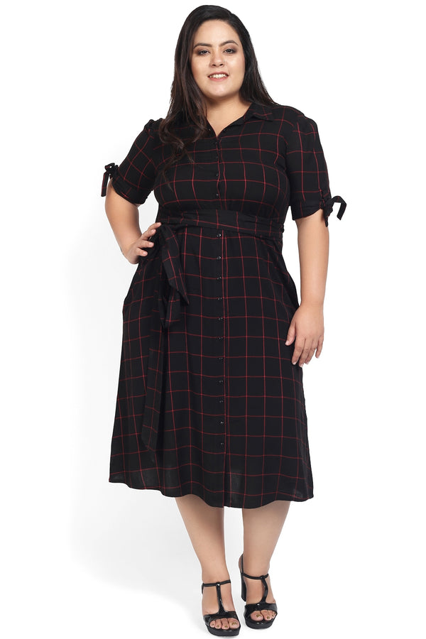 Black Red Check Tie Detail Dress