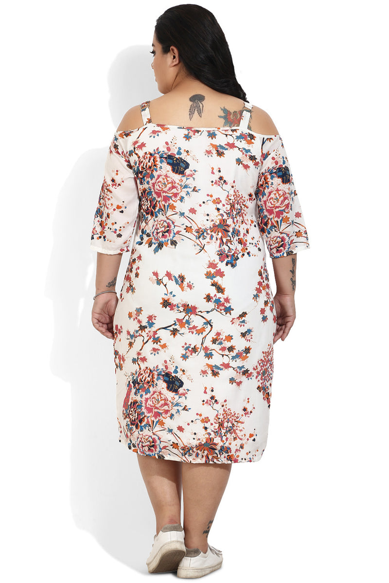 White Flower Print Off-Shoulder Dress