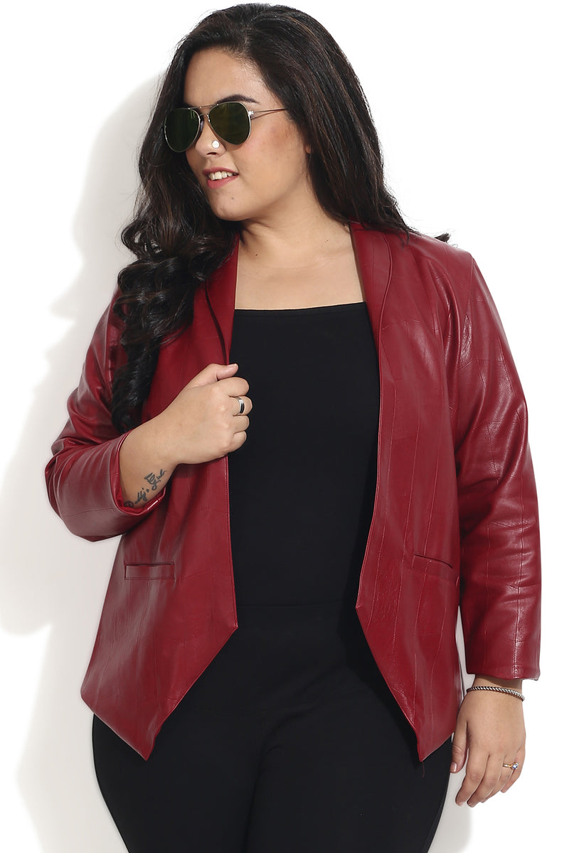 Maroon Leather Open Jacket