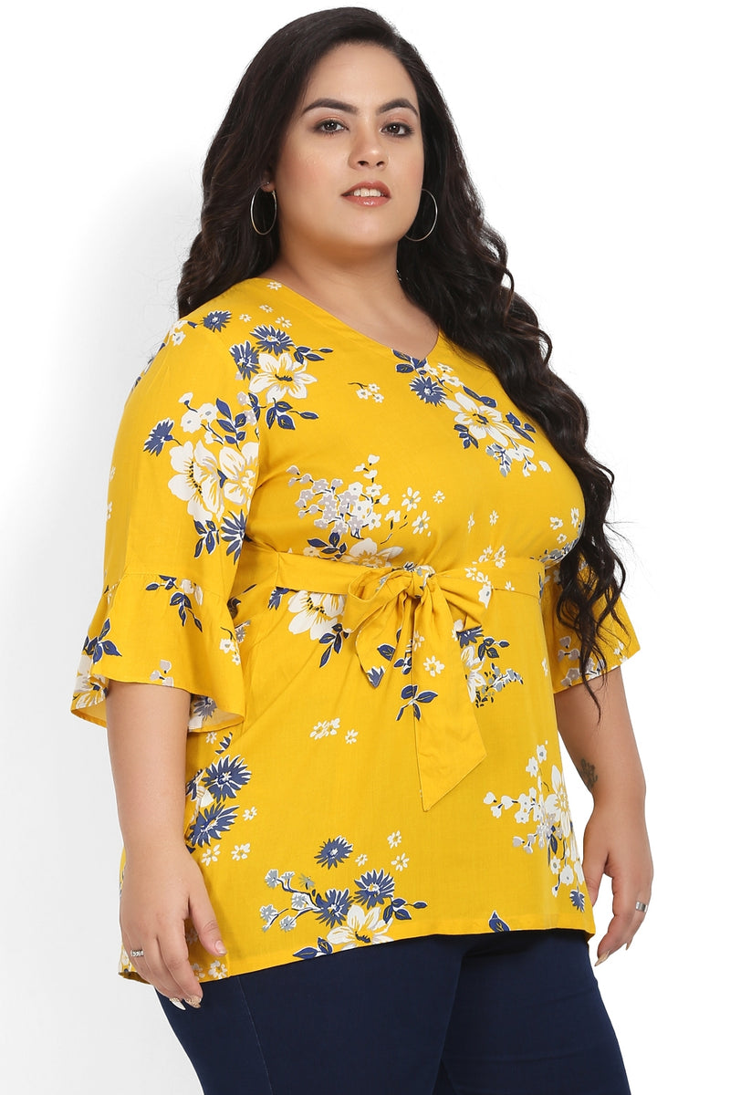 Yellow Printed Tie Detail Frill Sleeve Top