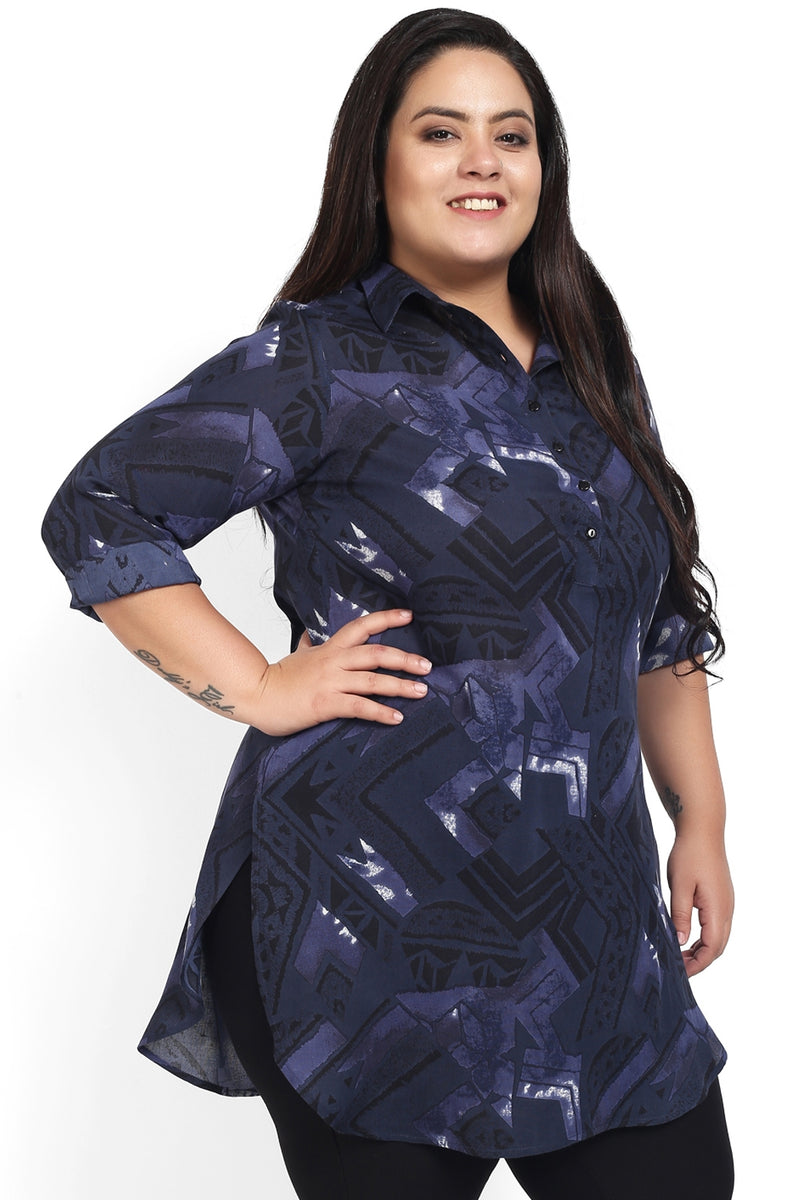 Navy Blue Printed Longline Shirt