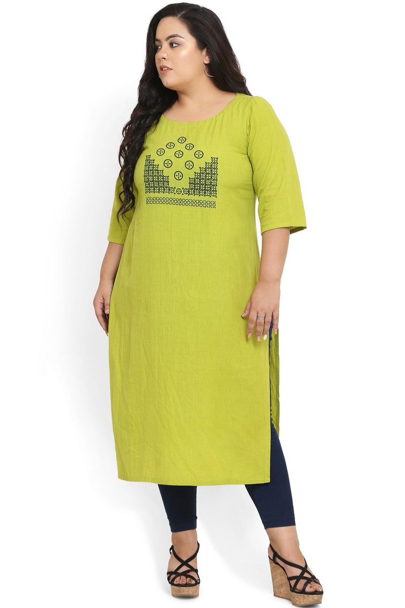 Parrot Green Geometric Embroidery Kurti