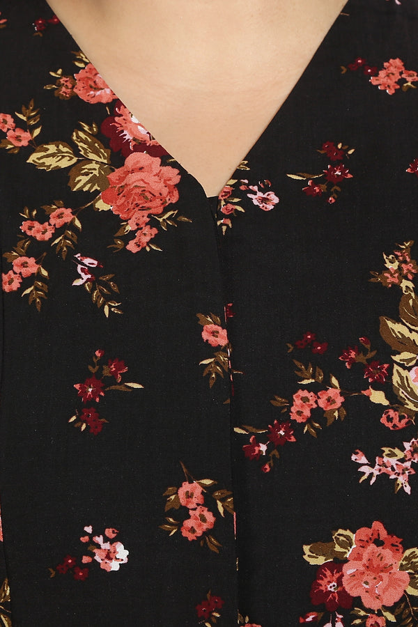 Black Rust Floral Cutout Sleeve Concealed Placket Top